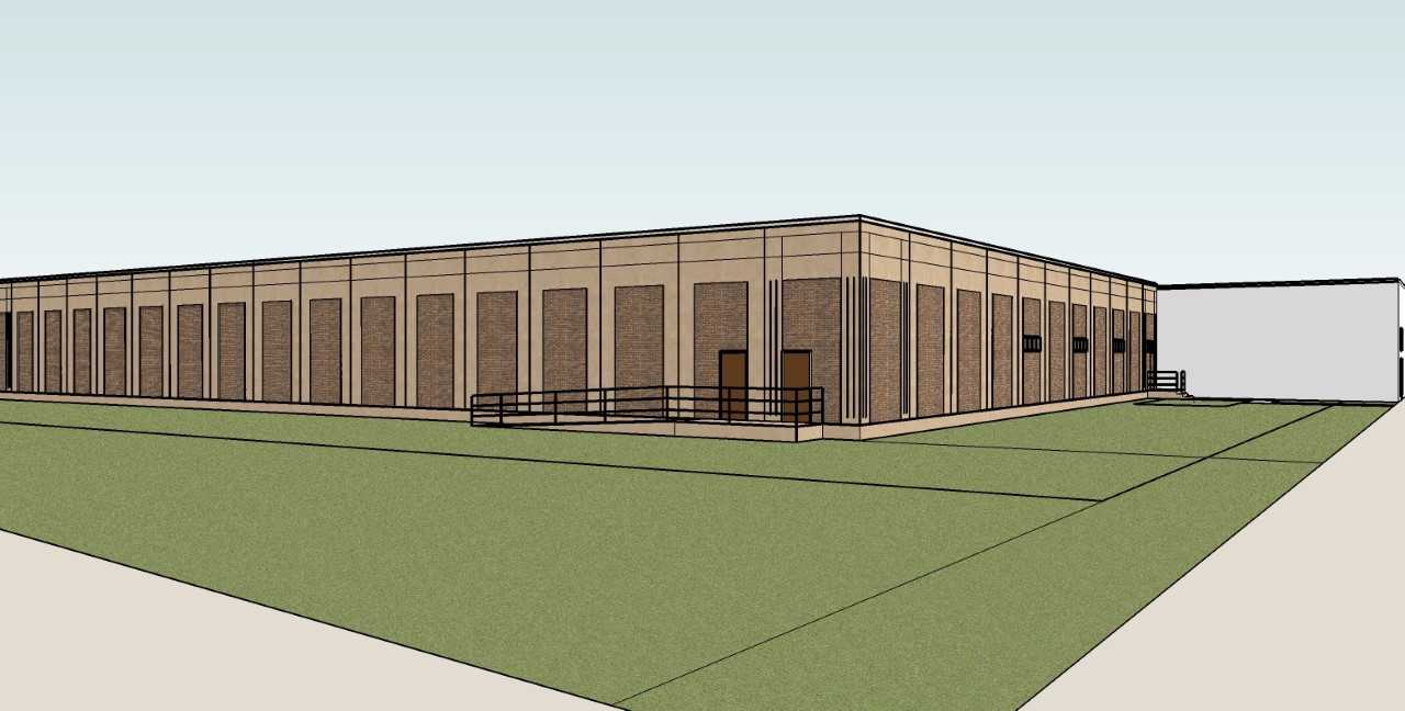 Architectural sketch of the new Wayne State data center - a plain building with one ramp to a secure entrance